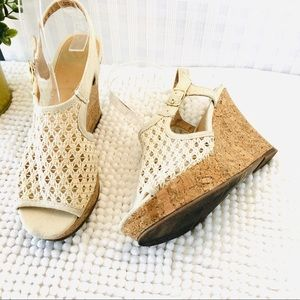 Fergalicious macramé wedge sandals cream size 5.5